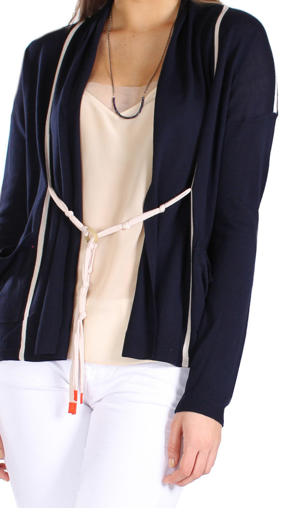 Label+Thread Ring Tie Cardigan