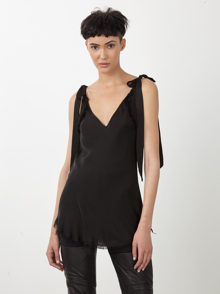 Raquel Allegra BLACK LIQUID SATIN BIAS TIE TANK