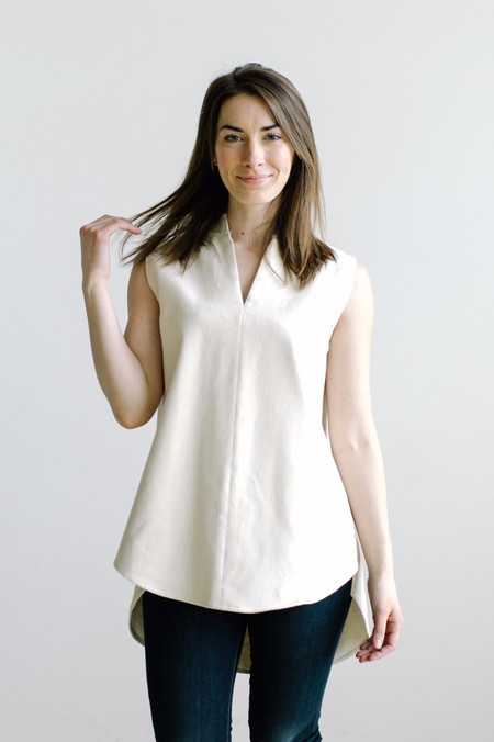 Hackwith Design House Mandarin Collar Tunic - Ivory Denim