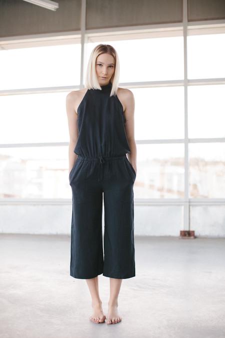 Bella Dahl mock neck jumpsuit in smokepearl