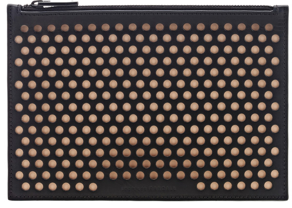 Loeffler Randall Small Pouch Clutch in Black/Nude