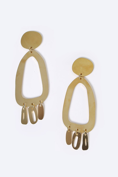 Modern Weaving Odd Oval Fringe Earrings in Brass