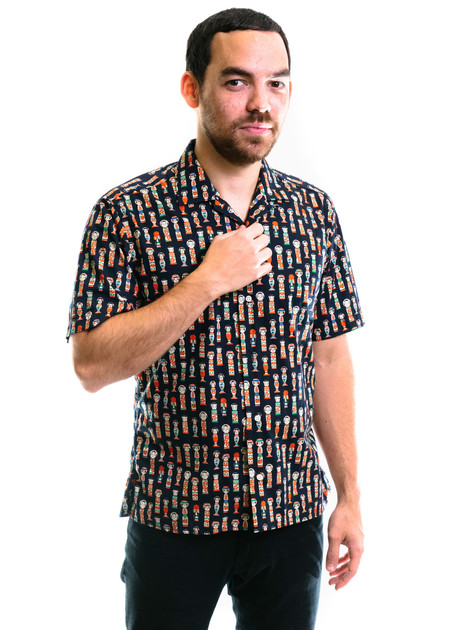 Gitman Vintage SS Kokeshi Print Camp Shirt - Navy
