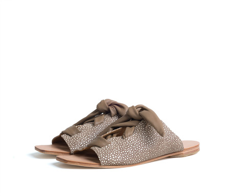 the palatines shoes texo sandal - taupe shagreen print leather