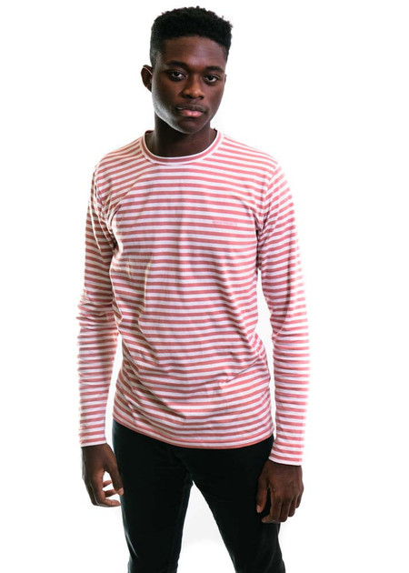 Norse Projects James Logo Stripe LS - White/Fusion Pink