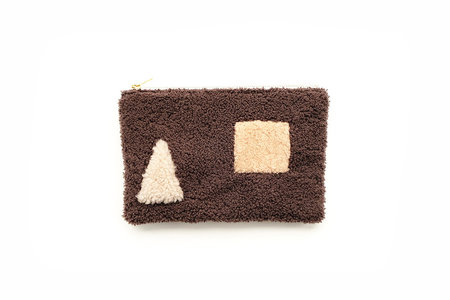 Primecut Brown Shapes Patchwork Sheepskin Clutch