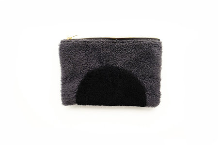 Primecut Grey Arch Patchwork Sheepskin Clutch