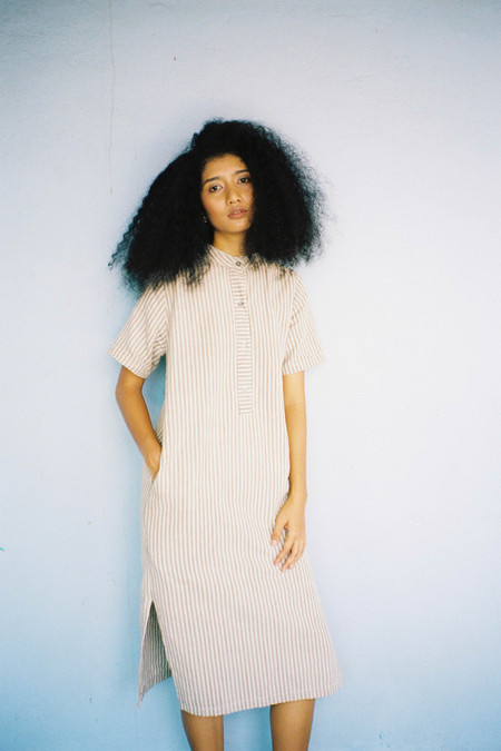 Seeker Studios Leisure Dress - Neutral Stripes