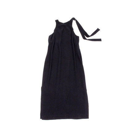 Nomia Shoulder Tie Midi Dress in Midnight