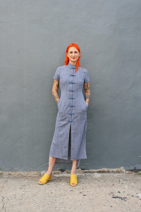 Kurt Lyle Tiko Dress in Cotton Stripe Chambray