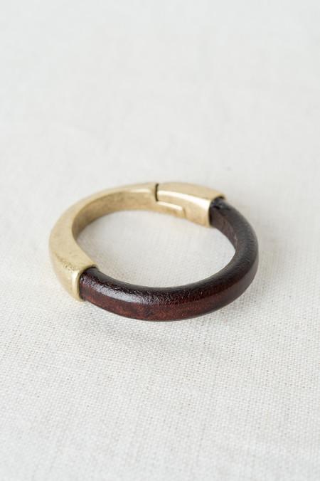 Alison Blair Studio Leather Bracelet In Mahogany/Brass