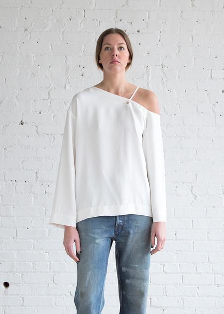 Nomia Lace Shoulder Top White
