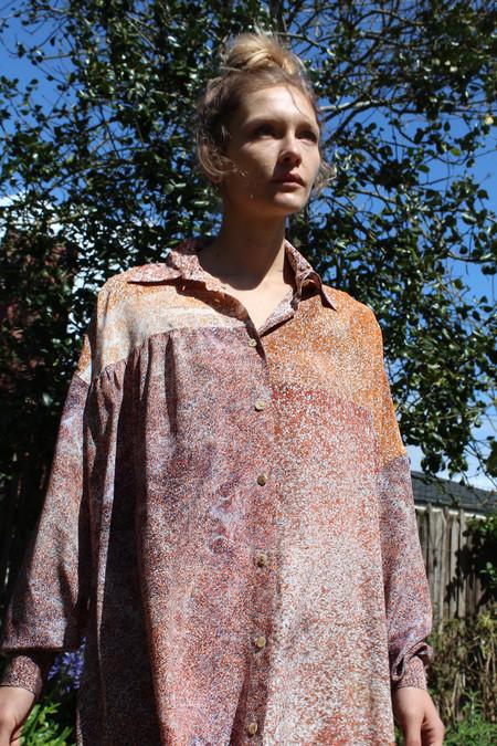 Anntian Big Silk Shirt Dress Print L
