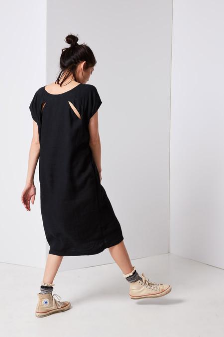 Black Crane Back Slit Open Dress - Black