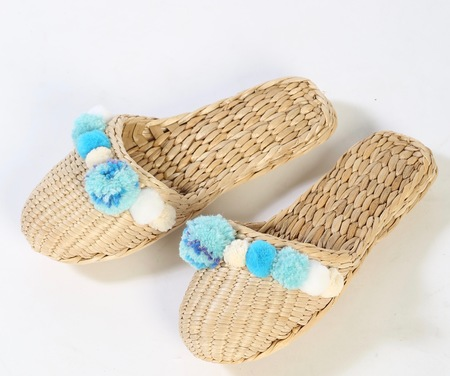 Folk Fortune Tropical blue pom pom slipper