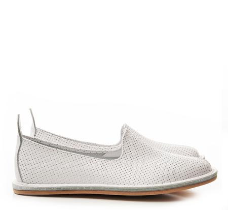 Vayarta Perforated White Slip On Shoes by Vayarta