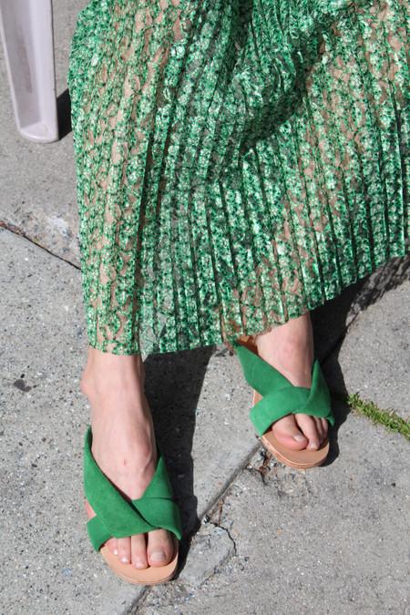 A Détacher Pipit Slides Green Suede