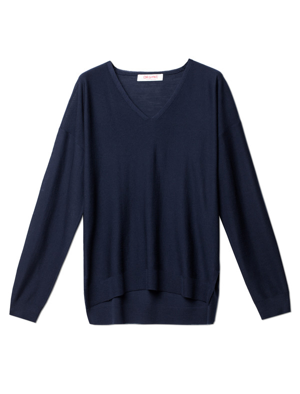 Organic by John Patrick V-Neck Superfine Merino Navy