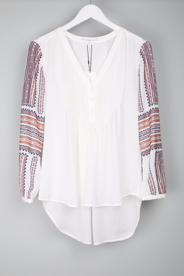 Veronica Beard Spruce Boho Blouse White
