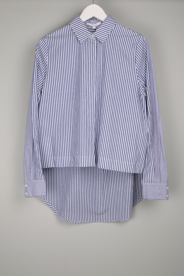 10 Crosby by Derek Lam Shirt W/ Back Tail Blue/White