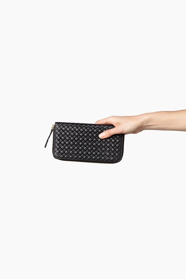 Clare V. Zip Wallet-black basket weave