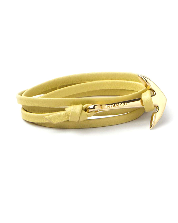 Miansai Gold Anchor And Yellow Leather Wrap Bracelet