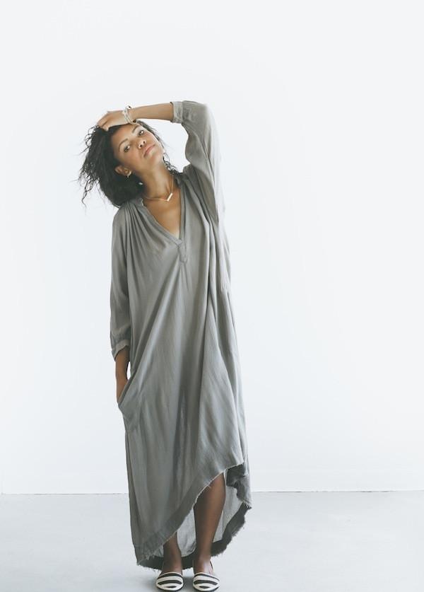 Black Crane - 3/4 Sleeve Dress Shirt in Light Grey