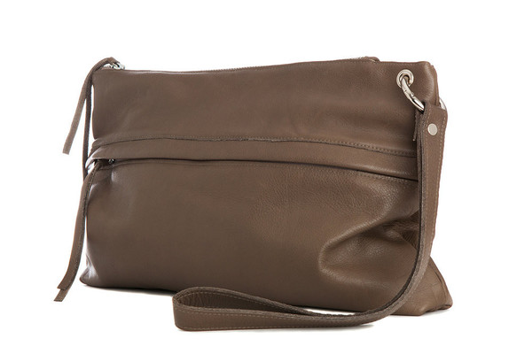 Taupe Leather Clutch