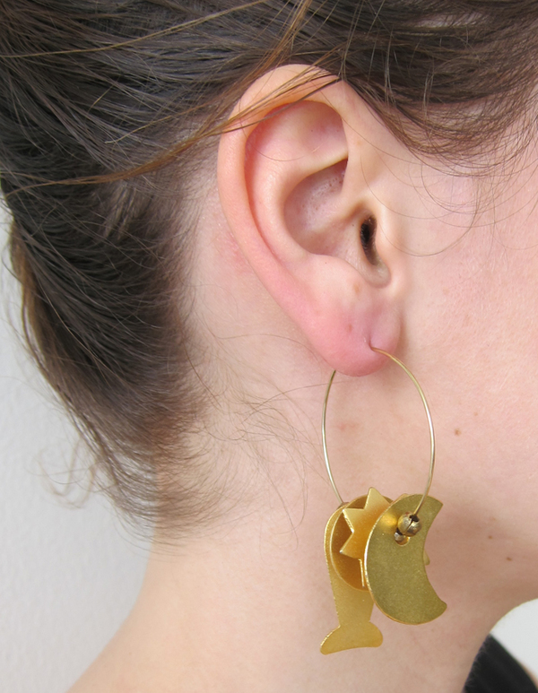 Gold charm hoops