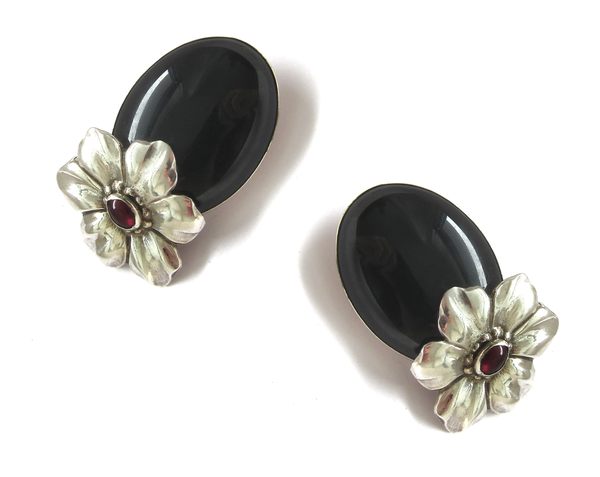 Vintage Collection Sterling and stone flower clip ons