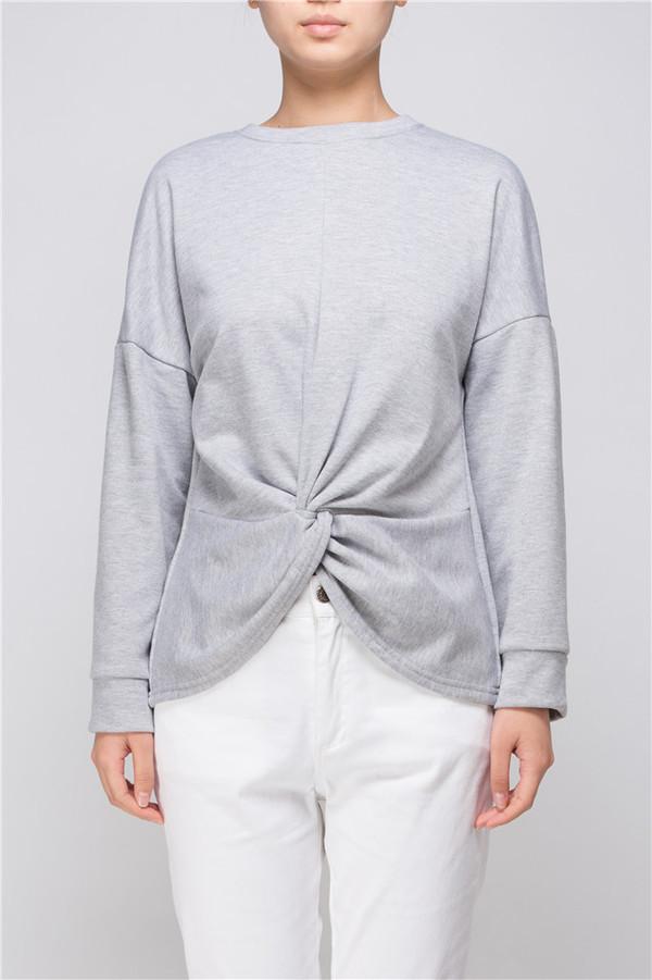 Few Moda Grey Knot-Detail Top