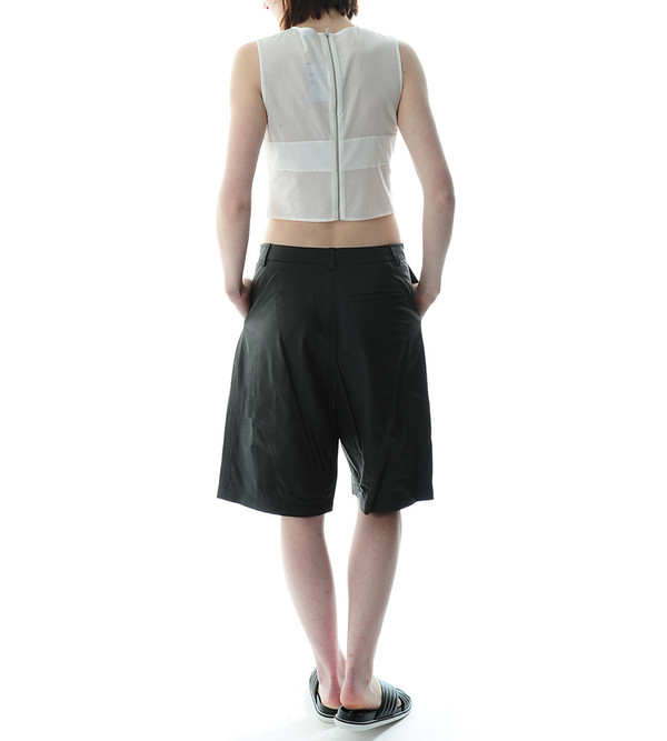 T By Alexander Wang Matte Lamb Wide Leg Shorts