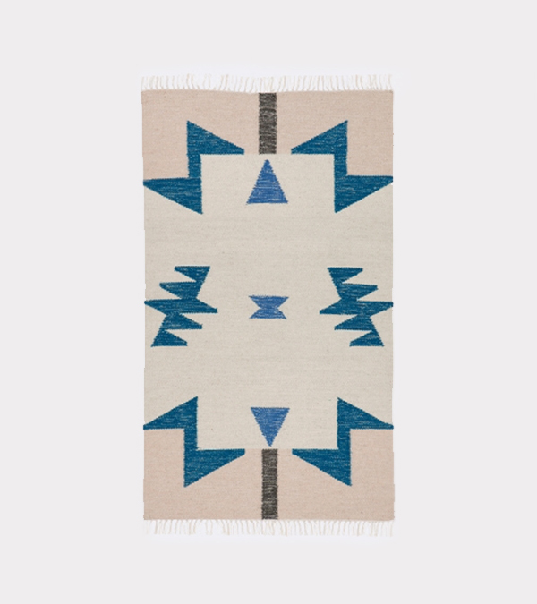 Ferm Living Kelim Rug Blue Triangles