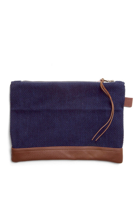 Kiriko Sashiko Leather Clutch Indigo