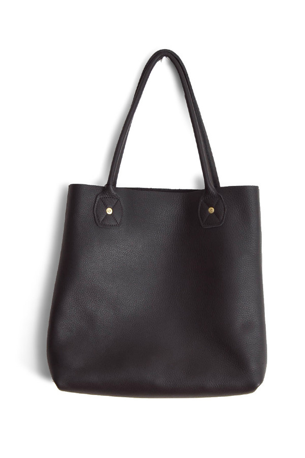 Wood&Faulk Leather Slouch Tote Black