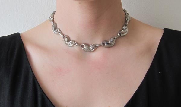 Vintage Silver Floral Link Necklace