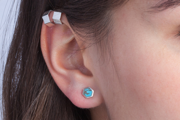 Shahla Karimi Honeycomb Ear Studs with Turquoise