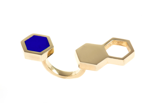 Shahla Karimi In-Between Honey Ring with Lapis