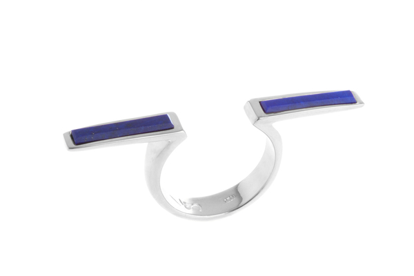 Shahla Karimi In-Between Bars Ring with Lapis