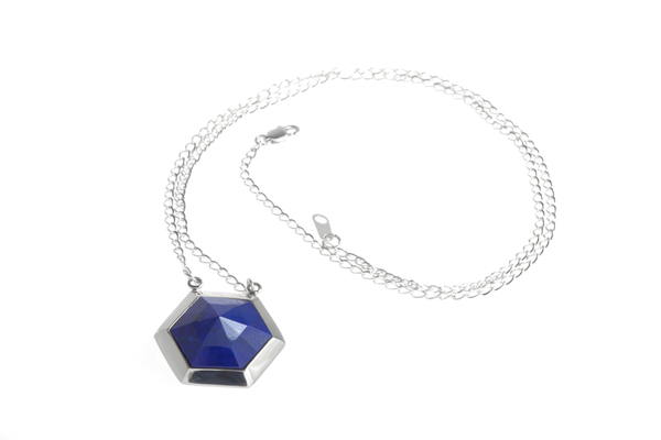 Shahla Karimi Hex Set Pendant Chain Necklace with Lapis