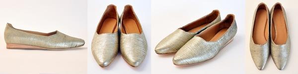 "The Palatines ""paratus"" high vamp wedge | textured gold"