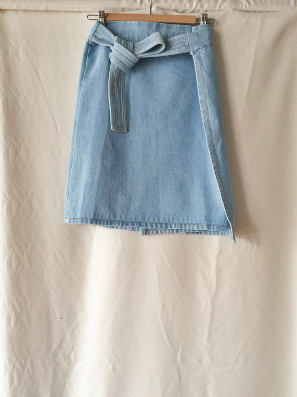 Objects Without Meaning Wrap Denim Skirt