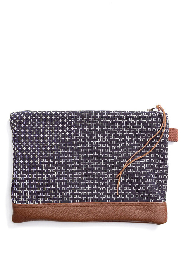 Kiriko Sashiko Leather Clutch Navy Pattern