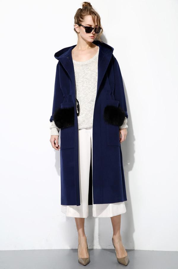 Few Moda Fur Pocket Australian Wool Coat