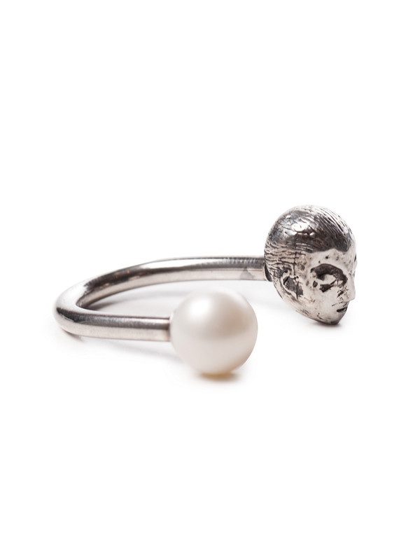 Muse Ring Silver with White Pearl
