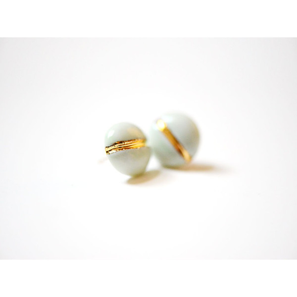 Porcelain and Stone Gold Navigation Earrings