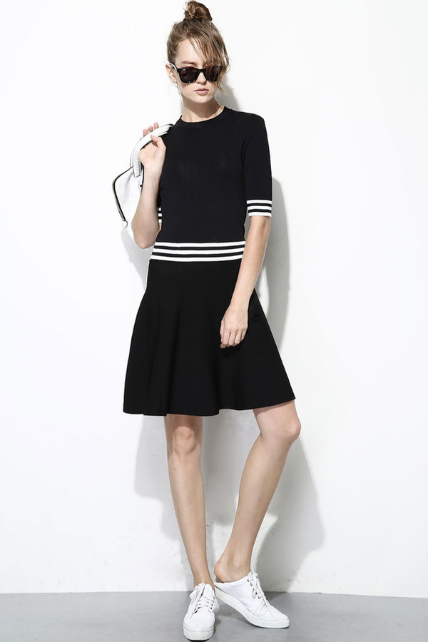 FEW MODA Simple Striped Linen Dress