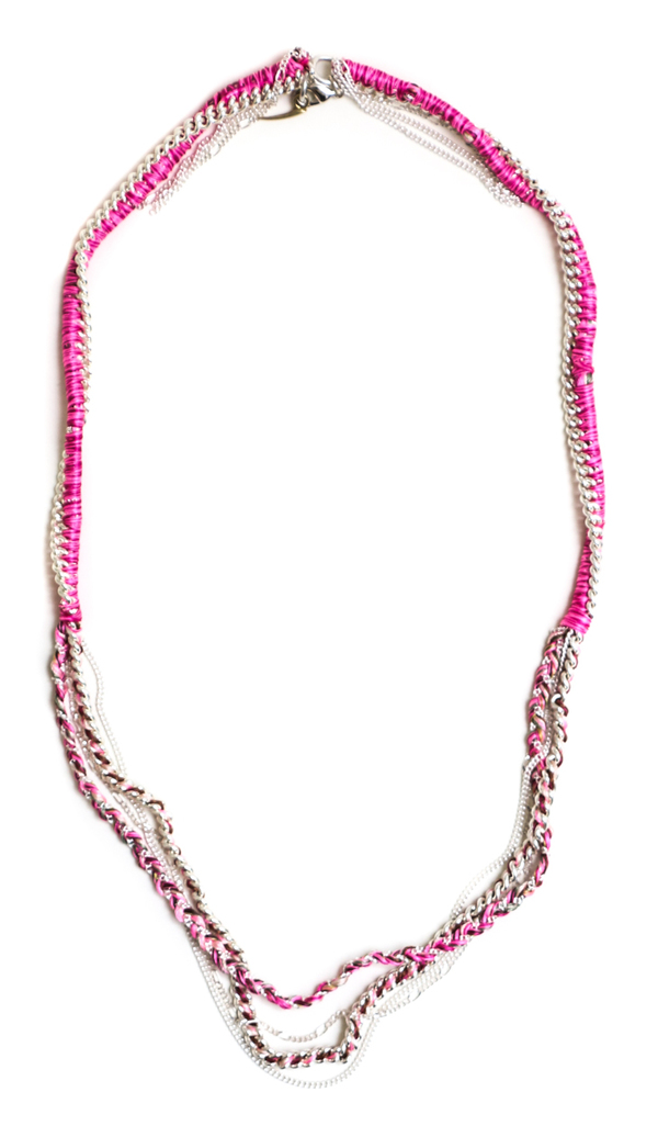 Alyssa Norton Silk Thread and Chain Necklace in Neon Pink and Silver