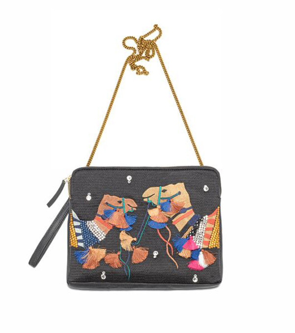 LIZZIE FORTUNATO SAFARI CLUTCH BRIGHT CAMEL