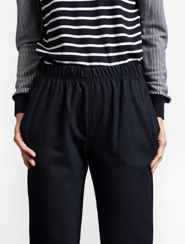 Sunspel Tapered Wool Trouser Navy